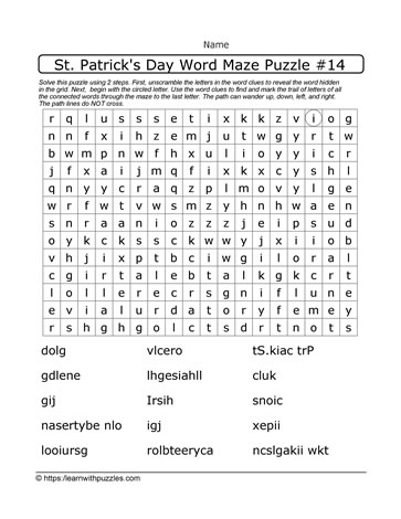 Word Maze For St. Paddy's Day
