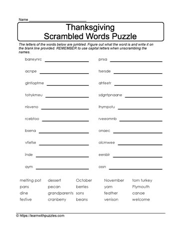 Scrambled Thanksgiving Puzzle