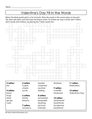 Freeform Valentine's Crossword Puzzle