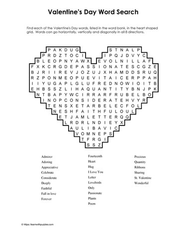 Heart Shaped Valentine Wordsearch