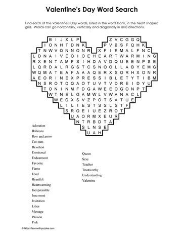 Word Search Valentine's Day Puzzle