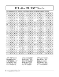Wordsearch Puzzle-12 Letter Words
