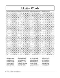 9-Letters WordSearch Puzzle