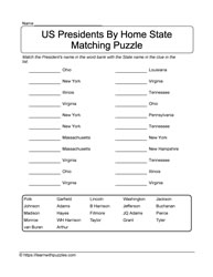 Home State Puzzle