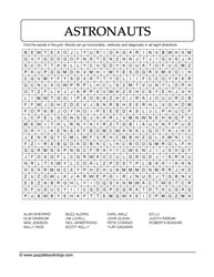 Astronauts WordSearch Puzzle