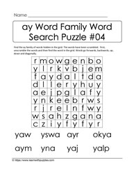ay Word Family Activity