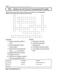 Crossword Puzzle with Vocabulary Support