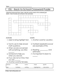 ESL Back to School Crossword
