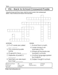 ESL Crossword Back To School