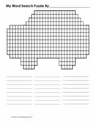 Car Shaped Blank Word Search