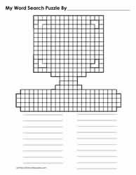 Blank Computer Shaped Wordsearch Grid
