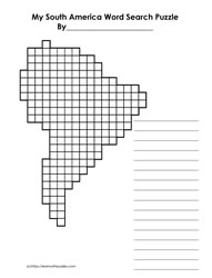 South America Blank Word Search Grid