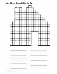 House Shaped Blank Word Search Grid