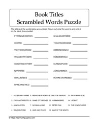 Jumbled Fiction Book Words Puzzle