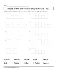 Word Shapes Puzzle Bible Books