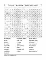 Chemistry Vocab Word Search #05