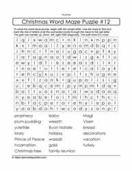 Christmas Word Maze Puzzle
