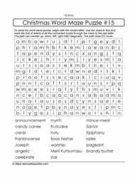 Christmas Words Word Maze