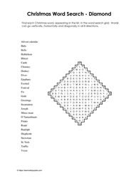 Diamond Shaped Xmas WordSearch
