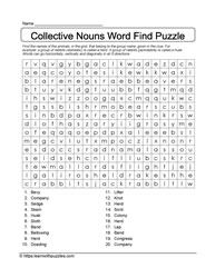 Groups of Animals Word Search