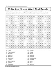 Word Search-Collective Nouns