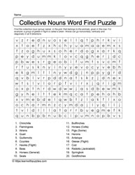 Word Find Collective Nouns