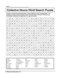 Word Search Collective Nouns