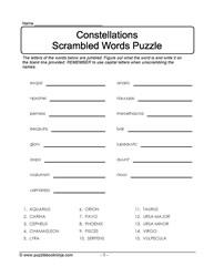 Constellation Scramble Puzzle