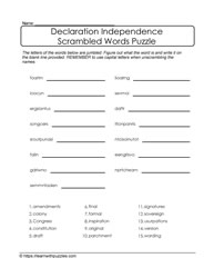 Declaration Independence Printable Puzzle