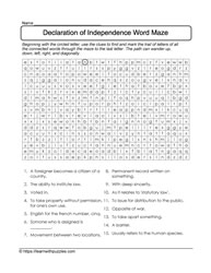 Declaration Independence Word Maze
