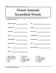 Desert Animals Jumbled Words