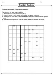 Divider Sudoku Puzzle