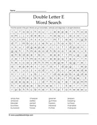 Double Letter E WordSearch