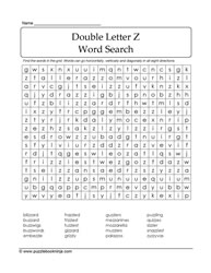 Double Letter Z WordSearch