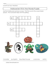 Easy Halloween Crossword Puzzle ELL