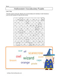 ELL Vocabulary Halloween Puzzle