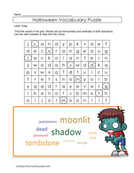 Word Cloud Halloween Puzzle ELL