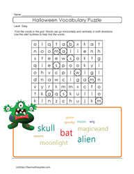 Easy Halloween Wordsearch Puzzle