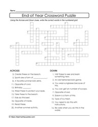 Crossword Puzzle for End of Year