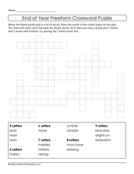 Freeform Crossword Puzzle - School's Out