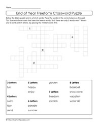 A Freeform Crossword Puzzle-End of Year