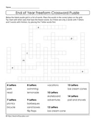 Freeform Crossword Puzzle-Year End