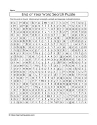 Year End Word Search Puzzle