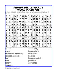 Financial Literacy Wordmaze#01