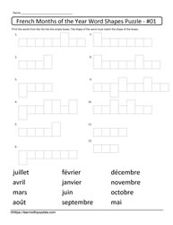 Word Shapes-Months of Year in French