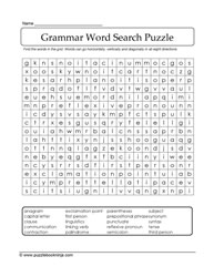 Grammar Word Search Activity