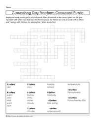 Ground Hog Freeform Crossword