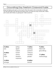 Freeform Crossword Puzzle GroundHog Day