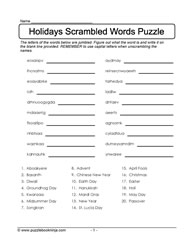 Holidays Scrambled Puzzle