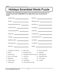 Scrambled Holidays Puzzle